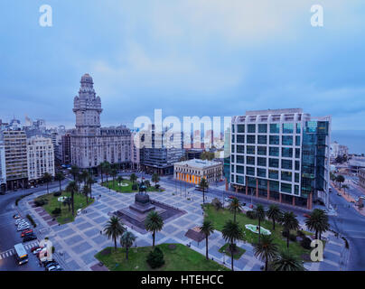 View of the Independence Square, Montevideo, Uruguay - Stock Photo
