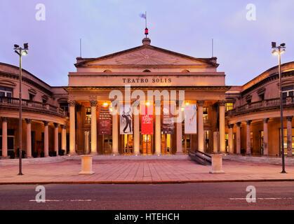 Solis Theatre, twilight, Montevideo, Uruguay - Stock Photo