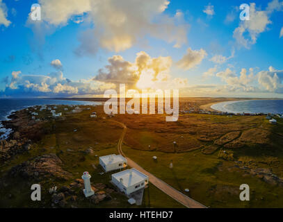 View of the Cabo Polonio at sunset, Rocha Department, Uruguay - Stock Photo