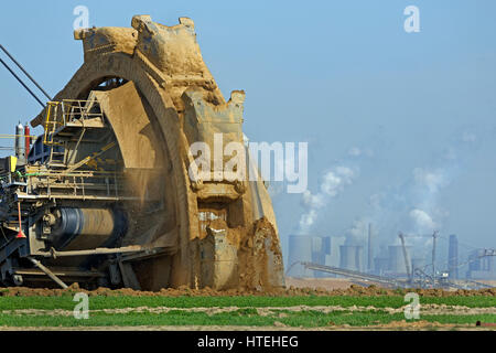 Bucket wheel excavator, lignite opencast mine Garzweiler, North Rhine-Westphalia, Germany - Stock Photo