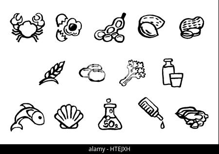 Set of food safety allergy icons including 14 allergies outlined by EU Food Information for Consumers Regulation - Stock Photo