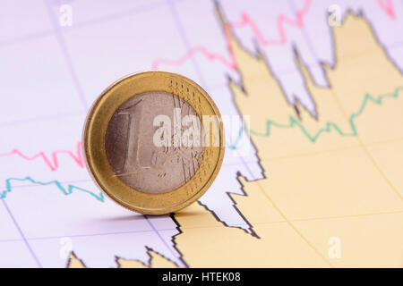euro coin on financial business chart - Stock Photo