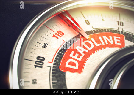 Gauge with Red Needle Pointing the Message Deadline on the Red Label. Shiny Metal Compass with Red Punchline Reach - Stock Photo