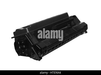 Black laser cartridge isolated on white background - Stock Photo