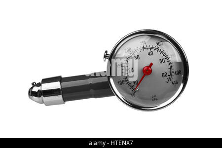 Car tire manometer with red arrow isolated on white background - Stock Photo