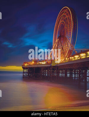 Long Exposure Night Image of Ferris Wheel on Pier at Blackpool - Stock Photo