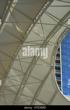 Detail of canopy, Union Station, Denver, Colorado, USA - Stock Photo