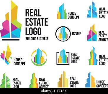 Isolated colorful real estate agency logos set, house logotype collection on white, home concept icons,skyscrapers - Stock Photo