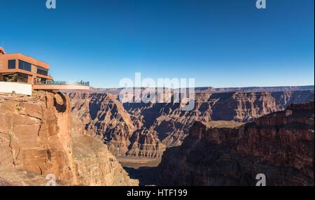 Skywalk glass observation bridge at Grand Canyon West Rim - Arizona, USA - Stock Photo