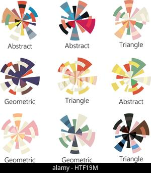 Isolated abstract colorful round shape logo of triangles set on white background, diagram icons collection, geometric - Stock Photo