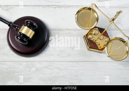 Law justice symbols concept top view. law attorney lawyer gavel book judge scale legal composition - Stock Photo