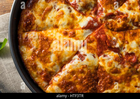 Homemade Cheese Pan Pizza Ready to Eat - Stock Photo