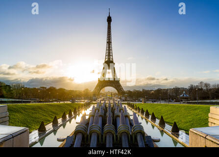Sunrise on the Eiffel tower and Trocadero. Paris, France - Stock Photo