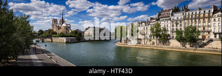 Panoramic view on the Seine River banks by the Ile Saint Louis and Ile de la Cite with Notre Dame Cathedral. Paris, - Stock Photo