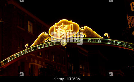 SAN DIEGO , CA - MAY 05 : The Gas Lamp Quarter in San Diego California on May 05 2014 , Gaslamp is the historic - Stock Photo