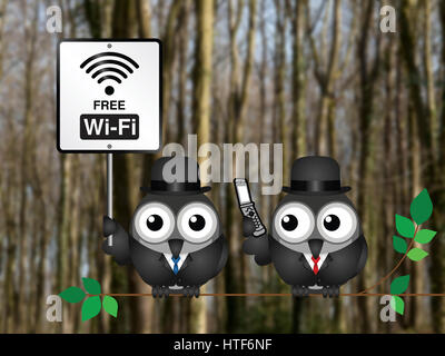 Free WIFI sign with businessman accessing the internet via his mobile telephone perched on a tree branch against - Stock Photo