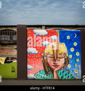 BOLOGNA, ITALY - FEBRUARY 08, 2017. Street art along Via Stalingrado. - Stock Photo