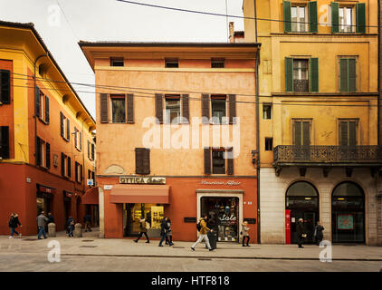 BOLOGNA, ITALY - FEBRUARY 08, 2017. Via Rizzoli pedestrian street scene. - Stock Photo