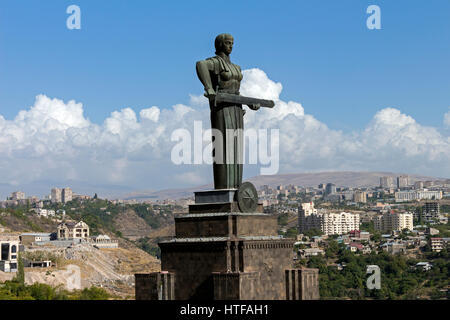 Mother Armenia Statue or Mayr hayastan. Monument located in Victory Park, Yerevan city, Armenia. - Stock Photo