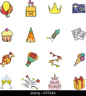 Party icons set in cartoon style isolated on white background vector illustration - Stock Photo