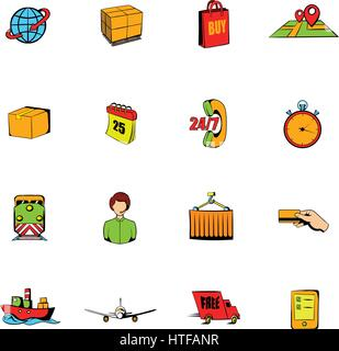 Logistics comics icons set in cartoon style isolated on white background vector illustration - Stock Photo