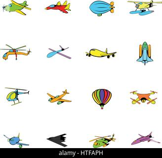 Aviation icons set in cartoon style isolated on white background vector illustration - Stock Photo