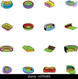 Stadium set icons set in cartoon style isolated on white background vector illustration - Stock Photo