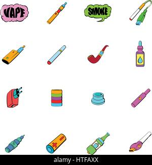 E-cigarettes icons set in cartoon style isolated on white background vector illustration - Stock Photo
