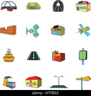 Urban infrastructure icons set in cartoon style isolated on white background vector illustration - Stock Photo