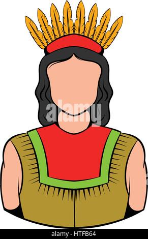 American Indian icon in icon in cartoon style isolated vector illustration - Stock Photo
