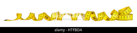 yellow isolated metric measuring tape on white panorama background - Stock Photo
