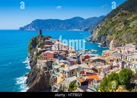Vernazza one of five famous village in Cinque Terre, Italy. - Stock Photo
