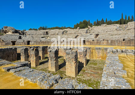 Roman city of Italica, near Santiponce, Seville Province, Andalusia, southern Spain. The amphitheatre. - Stock Photo