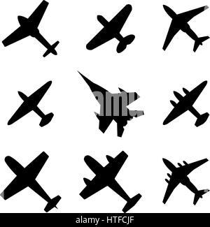 Set of black on a white background stylish icons airplanes, vector illustration. - Stock Photo