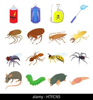 Insect icons set, cartoon style - Stock Photo