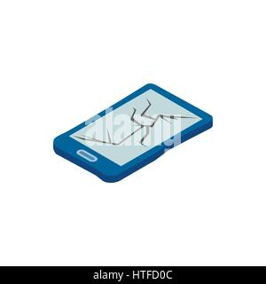 Broken phone icon, isometric 3d style - Stock Photo