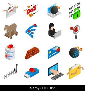 Hacking icons set, isometric 3d style - Stock Photo