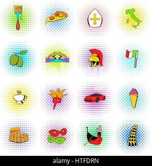 Italy set icons, comics style - Stock Photo