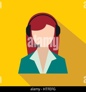 Support phone operator in headset icon, flat style - Stock Photo