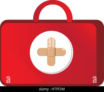 red suitcase healthcare with pink hospital symbol - Stock Photo