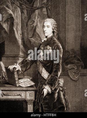 Wenzel Anton Graf Kaunitz, 1711-1794, Imperial Prince of Kaunitz-Rietberg, Austrian statesman of the enlightened - Stock Photo