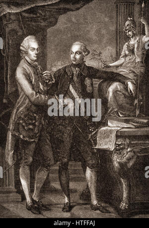 Leopold II, 1747-1792, with his brother Joseph II, 1741-1790, Holy Roman Emperors - Stock Photo