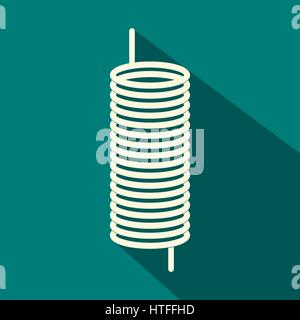 Metal spring icon, flat style - Stock Photo