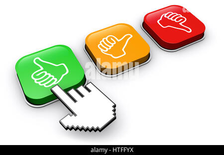 Happy customer clicking on positive feedback button business and marketing abstract concept 3d illustration. - Stock Photo