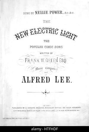 Sheet music cover image of the song 'The New Electric Light The Popular Comic Song', with original authorship notes - Stock Photo