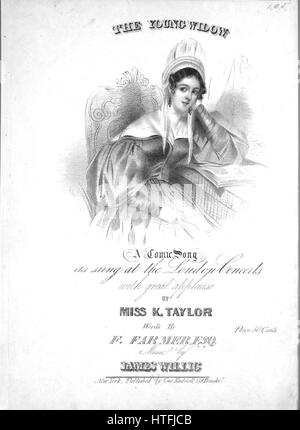 Sheet music cover image of the song 'The Young Widow A Comic Song', with original authorship notes reading 'By Miss - Stock Photo