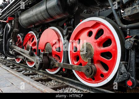 Vintage steam train wheels close-up. - Stock Photo
