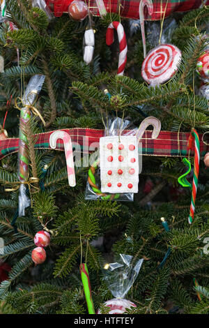 candy cane christmas tree decorations stock photo
