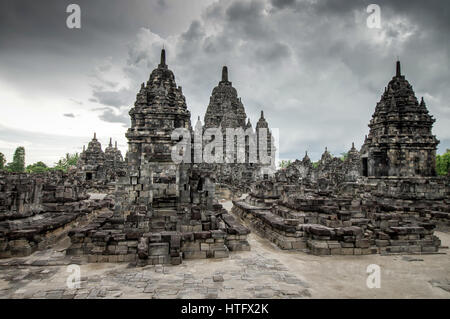Sewu Mahayana Buddhist temple complex located near Prambanan in Central Java, Indonesia - Stock Photo