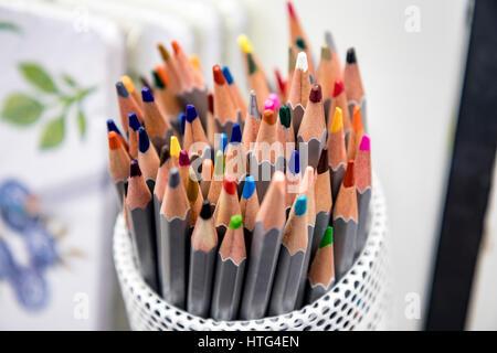 Pencils In A Pencil Vase Stock Photo 102692519 Alamy